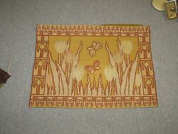 Antique European Wool-work Needlepoint Embroidery Doily Cushion Cover 15 X 20