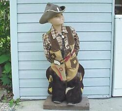 Very Vintage Little Boy Cowboy Store Mannequin W Real Fur Spats