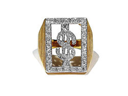 Solid 14k Yellow Gold And Diamonds High Roller Ring