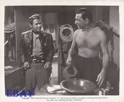 Audie Murphy Stephen Mcnally Barechested Vintage Photo Duel At Silver Creek