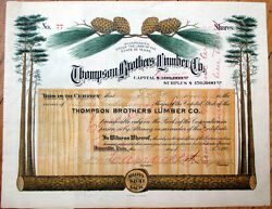1909 Stock Certificate And039thompson Brothers Lumber Co.and039 - Douchette/houston Tx