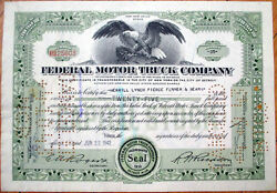 1942 Car/automobile Stock Certificate And039federal Motor Truck Companyand039 - Green