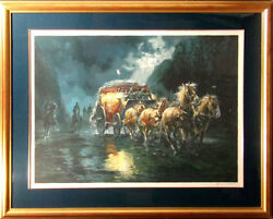 Americo Makk And039rolling Clouds Serigraph On Paper Hand Signed With Custom Frame