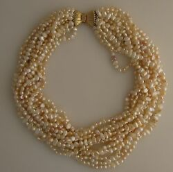 12 Strand 17 Inch Freshwater Pearl Torsade 14k Gold Clasp Champagne Color