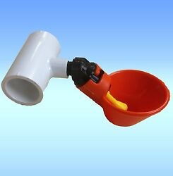 20 Chicken Water Cups + Tee Pvc Chicken Automatic Drink Drinkers Pipe Plastic