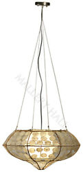 Bamboo Shell Pendent Chandelier Opaque Hand Cut Glass Drops Sold As A Pair