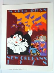 1978 New Orleans Mardi Gras Charest And Brousseau Numbered Silkscreen Poster