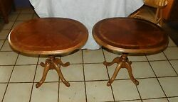 Pair Of Oval Cherry And Burl Elm Inlaid Top End Tables / Side Tables T321