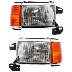 Headlight Set For 87-91 Ford F-150 88-91 F Super Duty Left And Right W/side Marker