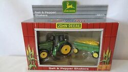 John Deere 1998 Tractor And Hay Wagon Salt And Pepper Shakers Mib G837