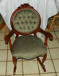 Carved Solid Mahogany Carved Rocker / Rocking Chair By Victorian R86