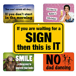 Funny Signs Work Home Drink Related Laminated Card 20cm x 12cm