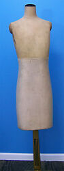 Rare Antique Early 1920's Girl Woman Mannequin Dress Form W Gilted Wood Stand