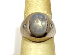 Solid Platinum Natural Star Sapphire And Diamonds Mens Ring Size 7 3/4