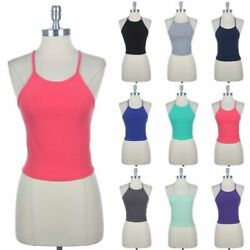 Halter Neck Cropped Tank Top Tie Strap Back Solid Cute Sexy Cotton Spandex S M L $9.99