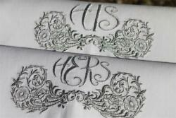Beautiful Pair Embroidered His And Hers Vintage Linen X Large Hand Guest Towels