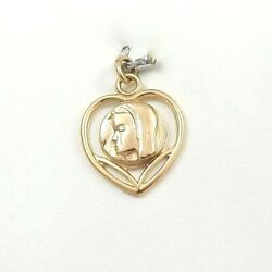 14K  Gold Mary Mother of Sorrows Cut Out Heart Medal Charm Pendant 3gr