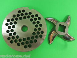 22 X 1/4 Meat Grinder Plate And Knife Stainless Fits Hobart Tor-rey Lem And More