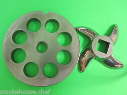 22 X 1/2 Meat Grinder Plate And Knife Stainless Fits Hobart Tor-rey Lem And More