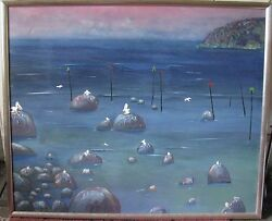 Gary Miles Australian Large Framed Oil Evening After Days Catch Pelicans 1985