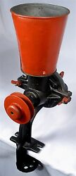 Antique Heavy Duty Pulley Drive Herb Poppy Seed Coffee Grinder Grit Mill Tool