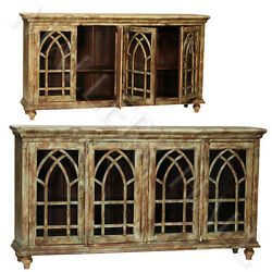 Arched Old World Distressed Rustic Finish Display Sideboard Cathedral Doors