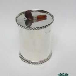 Novelty Sterling Silver Pipe Tobacco Jar Josiah Williams Andco London England 1897