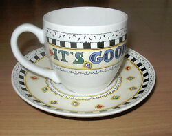 Mary Engelbreit Ceramic Teacup Cup And Saucer It's Good To Be Queen Me Ink 8 Oz