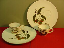 Stangl China Orchard Song Two Snack Plate And Cup Sets