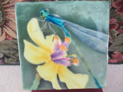 1225   Yellow Orchid And Dragon Fly Capiz Shell Trinket Box