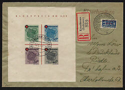 Opc 1949 Germany French Zone Red Cross Sheet Sc5nb4a Registered Cover