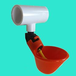 24 Poultry Water Drinking Cups + Tees Chicken Automatic Drinker Bracket Pvc New