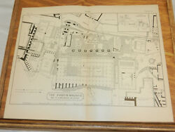 1885 Antique Print/layout Map Of The Forum Magnum, In Rome