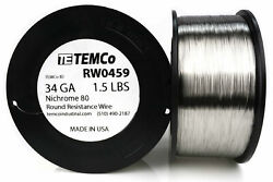 Temco Nichrome 80 Series Wire 34 Gauge 1.5 Lb 13213.5ft Resistance Awg Ga