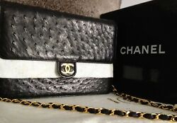 NEW 100% CHANEL CLASSIC Black Ostrich Leather CC 24K Gold Chain Flap Clutch Bag