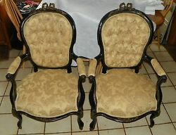 Pair Of Mahogany Black Lacquer Ormulu Armchairs / Parlor Chairs By Sefert Ac94