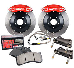 Stoptech Red Front Brake Pad Kit Calipers Slotted Rotors for 2004 Subaru STI