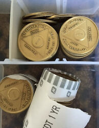 Set Of 4 Aa Alcoholics Anonymous Medallions Chips Year 1 - 65 Months 1 - 11