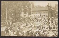 Real Photo Postcard Unknown Town Parade W Very Large 45 Star American Flag