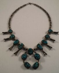 Vintage Navajo Indian Sterling Silver Turquoise Squash Blossom Naja Necklace