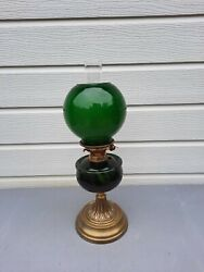 A Vintage Brass Oil Lamp With Emerald Green Font And Shade Hinks Burner  Ol28
