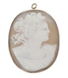 Antique 10k+ Yellow Gold Carved Shell Cameo Brooch/pendant - Circa 1900-1920