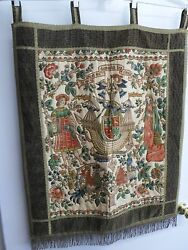 Large Vintage Wall Hanging Tapestry 15 Century French Barques Des Amours 28x33