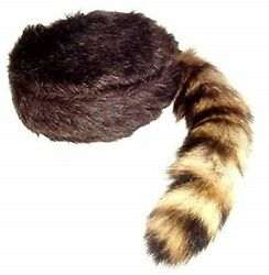 Davy Crockett Daniel Boon Coon Skin Hat With Real Coon Tail Multi Sizes