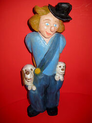 Clown With Puppies Pockets Wood Reproduction Of Lladro Little Pals Figurine