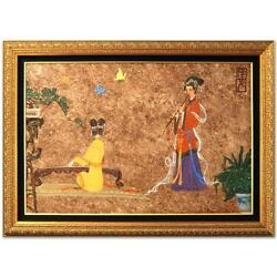 Chen Yi Original Painting Imperial Ladies Flute Piano Chinese Korean Art Framed