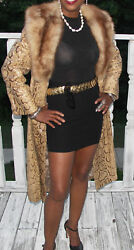 Designer Full Length Stone Marten Sable Fur & snakeskin Coat S-M 2-8 + free bag