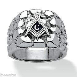 Masonic Mason Silver Nugget Stainless Steel Ring Size 8 9 10 11 12 13