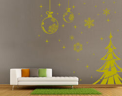 Christmas tree Decals Snowflake String Shop Window wall stickers UK 08