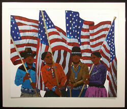 Louis De Mayo Hail To America 1984 Hand Signed Fine Art Serigraph Print Matted